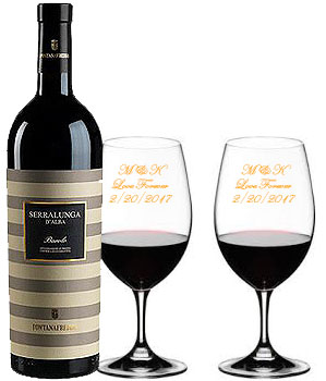 Send A Bottle of Red Wine and 2 Custom Engraved Wine Glasses